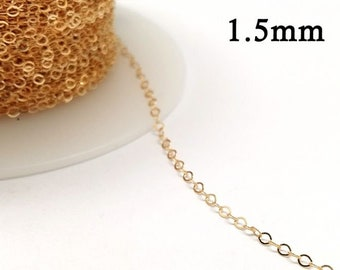 1meter 3.28 feet This type of chain is also available in bulk spools Rose Gold Filled 14K Cable Link Chain Unfinished 1,7mm