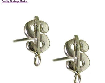 3 pairs 6 pcs Sterling Silver 925 stud earrings Dollar sign