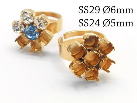 1pc rond lunette lunette rond anneau règlables fit Swarovski 6mm SS29, 5mm SS24 - bijoux de Base - en laiton, cuivre, argent, or, plaqué or Rose f025e9