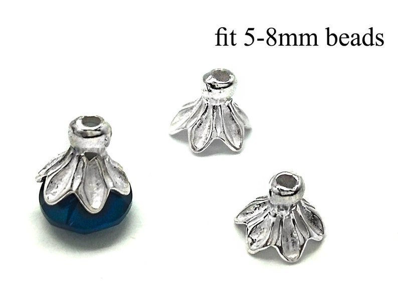 6x5mm Bead End Cap 925 Sterling Silver 10pcs Sterling Silver Bead Caps fit 5-8mm beads Spacer Beads Cap JBB Findings