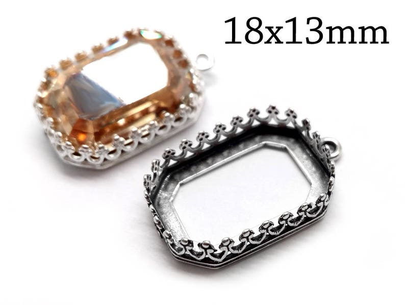 42224d15402ade 3 pcs Octagon Bezel Cup 18x13mm Sterling Silver 925 with 1