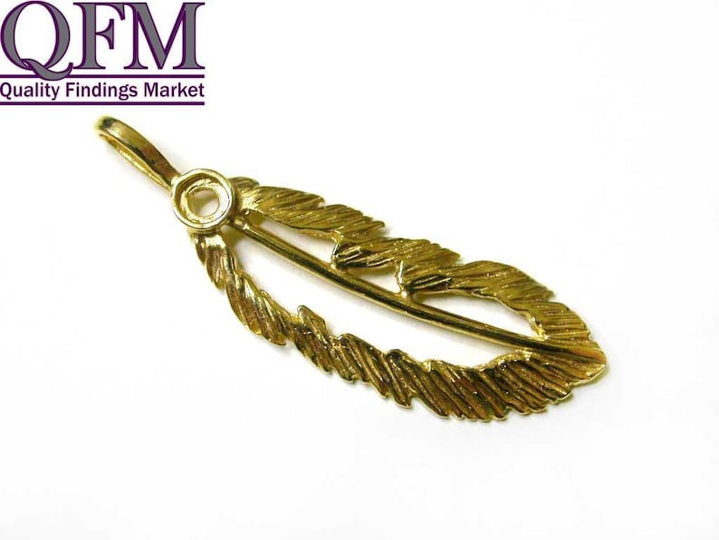 with place for setting stone 2.5mm - Heavy Coated Brass by 24K Gold size 34x11mm 2 pcs Feather Pendant in Brass Gold Plated 24K
