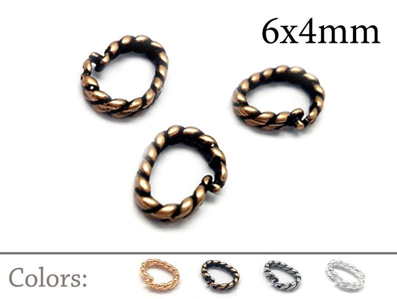 Silver plated Gold plated 10pcs Oval Open Lock in Jump Rings Brass Inside Diameter 6x4mm Link Lock Jump Rings JBB Findings Brass