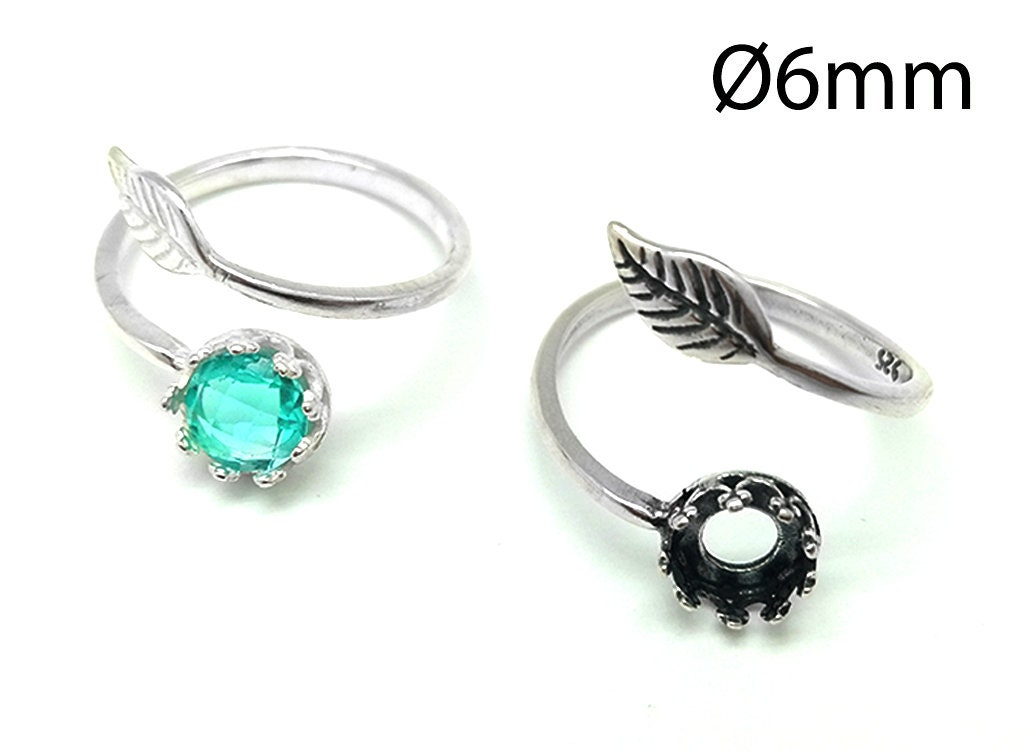 Bezel Cup 8mm Setting Ring JBB 1pc Sterling Silver 925 Adjustable Crown Ring