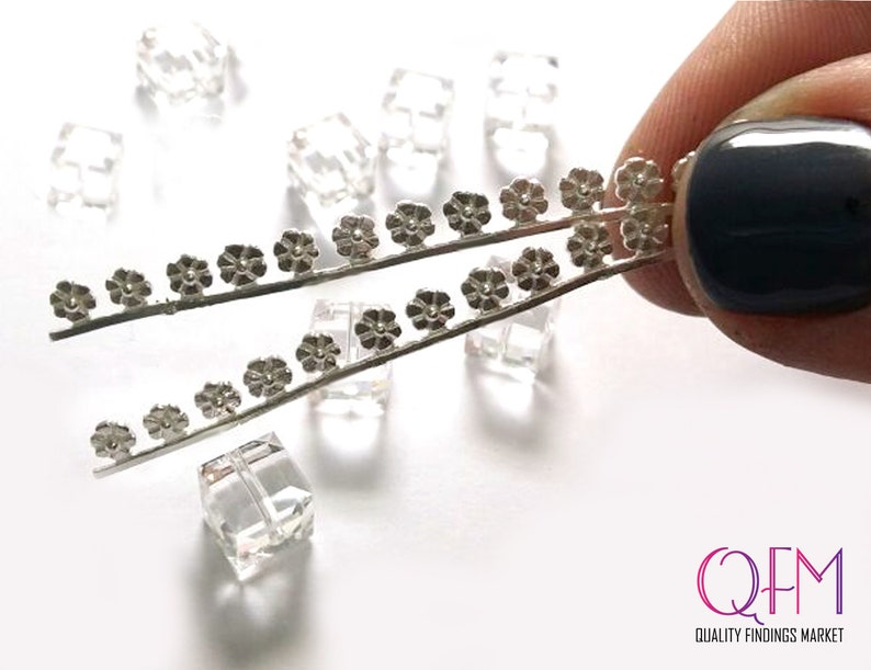 45mm Silver Gallery wire x 4.1mm 1.75 Inch Fine Silver 999 Casted Bezel wire with flowers