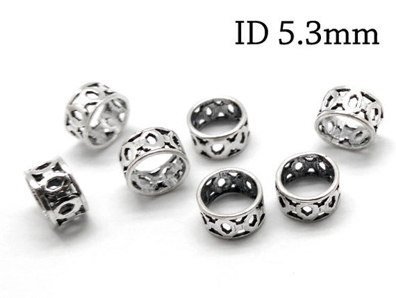 JBB Findings tubes for cord 10pcs Sterling Silver 925 Hammered Bead Tubes size 8x5mm tubes for necklace tubes for bracelet