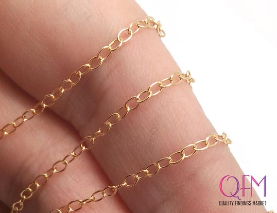 30.5 meters 100 Feet Gold Filled Cable Link Chain Unfinished 1.9mm