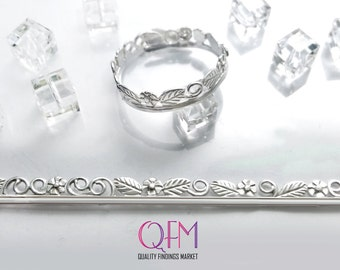 Fine Silver 999 Casted Bezel wire with flowers and leaves -  Silver Gallery wire - 2.5 Inch (63.5mm) x 4.5mm