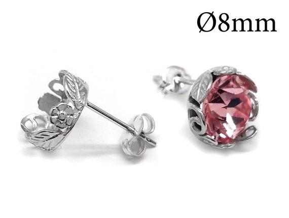 4 pcs Sterling Silver 925 Bezel cup stud earrings Silver stud earrings flower shaped size cup 8mm