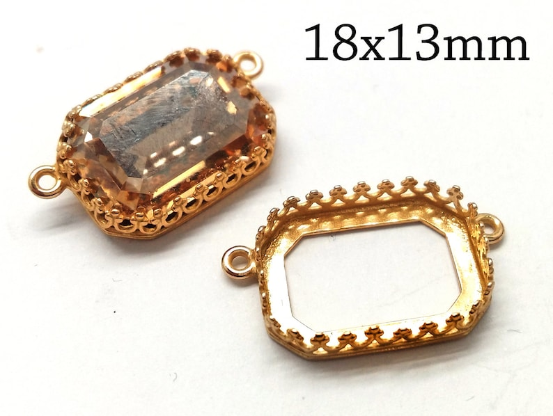 a74e0f0cffc4aa 5pcs Octagon Bezel Cup 18x13mm Brass Gold plated for necklace