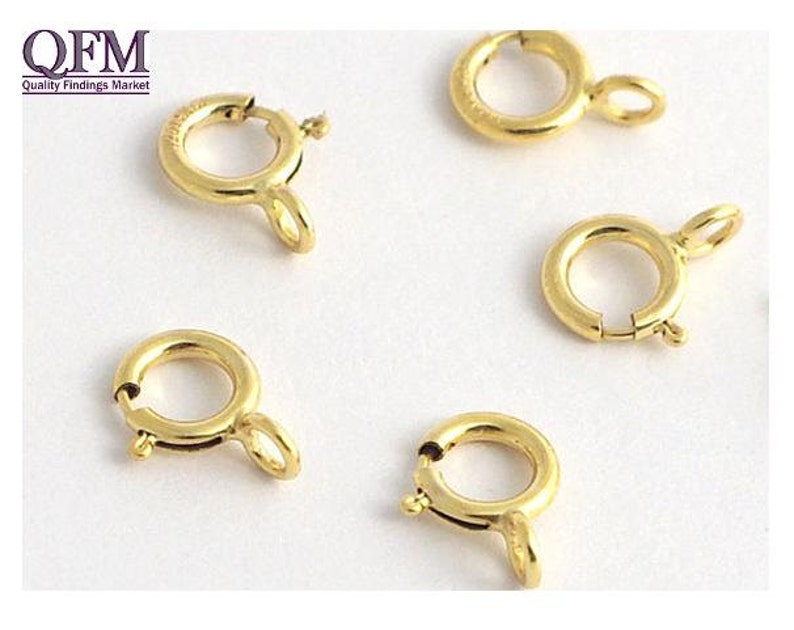 Gold Clasp Necklace Clasp 5005 Gold Fill Clasp 14K Gold Filled 5mm Spring Clasp Open Gold Spring Clasp 10 Pcs Gold Fill Spring Clasp