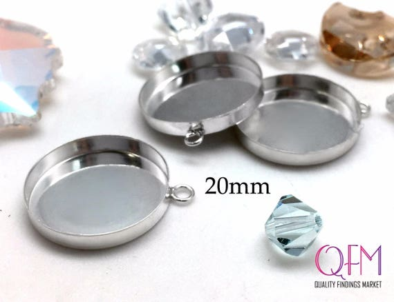 Earrings 24 or 100pcs Round 4mm Sterling Silver 925 Bezel Cup Setting Pendant