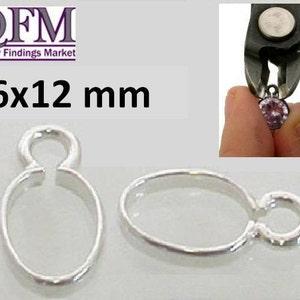 Crimp bezel cup- J8x5mm 16pcs Crimp Bezel Cup Sterling Silver Drop Bezel Cup 1 loop JBB Findings Bezel settings QFMarket