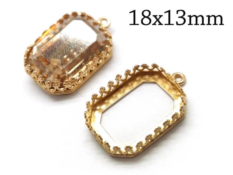 2e19e4da38445f 4 pcs Octagon Bezel Cup 18x13mm Shiny Brass with 1 loop Fits