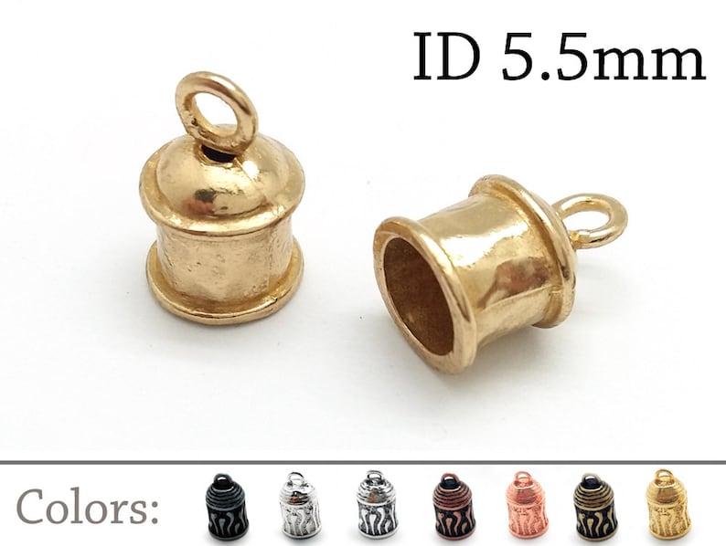 Brass 6pcs Brass Leather Cord End Cap ID 5.5mm JBB Findings Silver Copper Gun Metal Bead Cap Rope End Cap Crimp End Cap