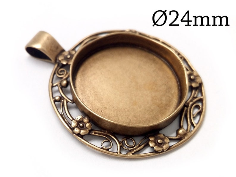 1pc Brass Adjustable Ring 6mm Cabochon Setting JBB Crown Round Bezel Cup