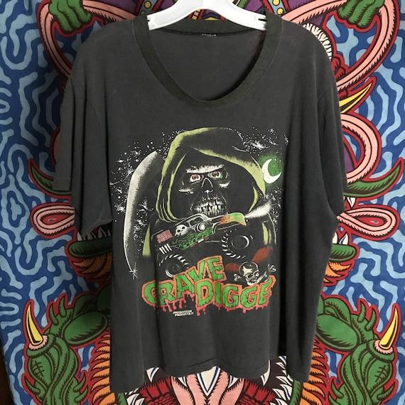 Rare 80s Grave Digger T shirt monster truck vintag