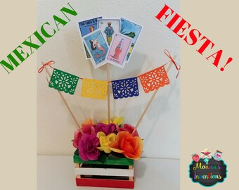 6a38cca4d Mexican Party Centerpiece Mexican Fiesta Centerpiece Loteria Centerpiece