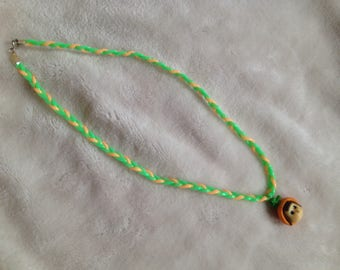 Necklace girl 47cm, two-tone green and orange braided link, girl, made of polymer clay pendant.
