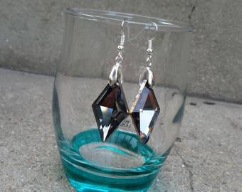Beautiful dangling earrings, Crystal Gray Diamond collection