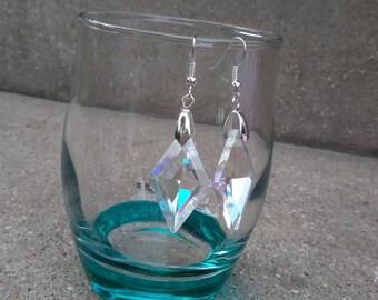 Beautiful dangling earrings, diamond cut crystal collection