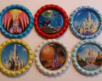 Set of 6 Walt Disney World Magic Kingdom Castle themed Finished Bottle Caps - Magnet Set - Necklace Set