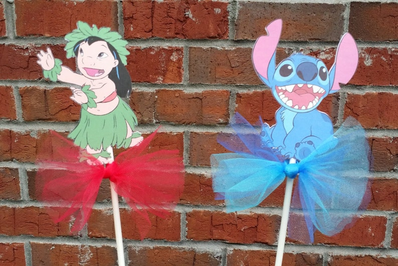Set Of 4 Lilo Stitch Themed Centerpiece Picks Or Cake Toppers
