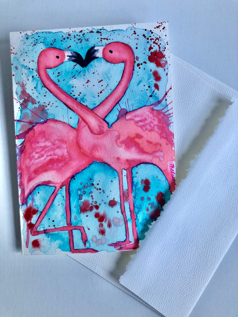 ORIGINAL Watercolor 5x7 Hand Painted Greeting Card Valentine/'s Day Card Anniversary Card Handmade Blank Cards Flamingos In Love