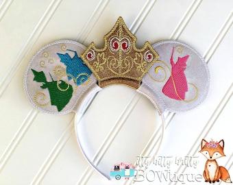 Sleeping Beauty. Princess Aurora. Flora, Fauna, and Merryweather. Mouse Ears