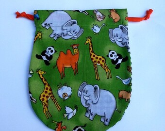 Marble bag / Drawstring Pouch Zoo