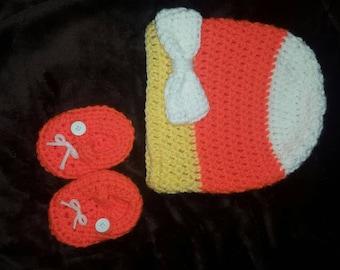 Candy Corn Baby Beanie Set