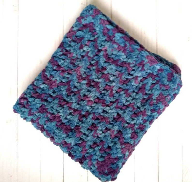 Peacock Chenille Baby Snuggler Blanket // Bernat Blanket Stitch n Win  Collection // Car Stroller Blanket // 24 x 23 in // Baby Girl Gift