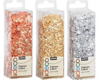 Pebeo Deco Gilding Flakes in Gold, Copper or Silver for Art, Craft, Jewellery, Decor & Mixed Media
