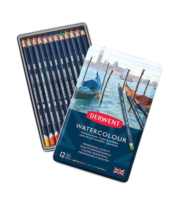 Assorted Colors Derwent Inktense Colored Pencils with Tin Set of 12