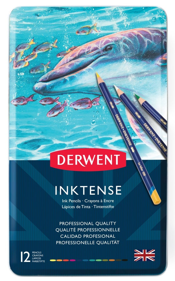 Derwent Inktense Professional Pencils 36 Tin Set Assorted Water-Soluble Colours