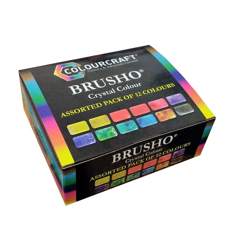 Colourcraft Brusho Crystal Colour Assorted Pack of 12 Pigment image 0