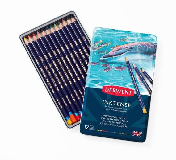 Derwent Inktense Water-Soluble Blocks Tin of 24 Assorted Colours
