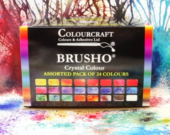 Colourcraft Brusho Crystal Colour Assorted Pack of 24 Pigment Powders