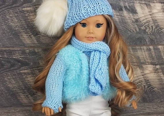 Plaid Scarf Gray Wool Flannel Doll Coat 18 Inch Doll Clothes /& Cap