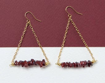 GARNET - crystal triangle drop bar earrings - handmade