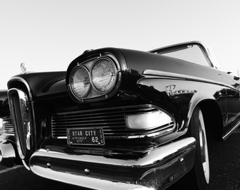 Car Photography, 1958 Edsel, Automotive Photography, Classic Car, Convertible Edsel, Black and White Car Photography, Edsel Photo