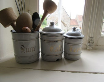 Enamel Storage canisters Chippy enamel Wooden utensils Kitchen storage French vintage