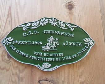 Show Jumping plaque Agricultural prize Equestrian Award Vintage French Metal sign Horse riding