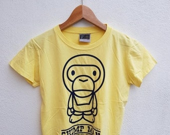 20% VTG SALES Vintage 90s Baby Milo By A Bathing Ape Chimp Man Giant Graphic Swag Bape Tops Women's T-Shirt Size M