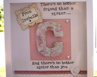 There's no better friend than a sister personilised initial frame