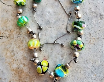 Vibrantly Colorful Hand Blown Unique Lampwork Glass Bead & Artisan Nickel Silver Link Necklace