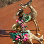 2pc Vintage Christmas Deer Brass Candle Holder Holiday Home Decoration Figural