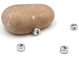 Ø 7 mm-blanc avec impression noire-Mix Sadingo chiffres Perles 100 pcs