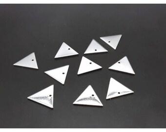 10 charms triangle geometric silver 14x12mm