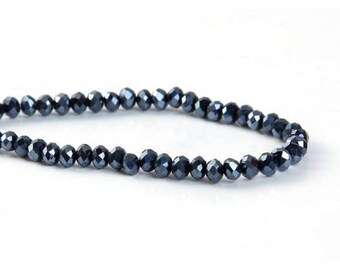 145 dark blue glass 4mm faceted beads